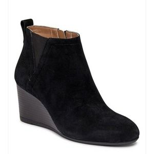 Vionic Paloma Black Suede Wedge Bootie Size 6.5